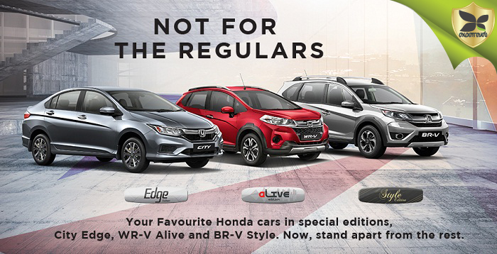 Honda launched City, WR-V and BR-V Special Editions In India