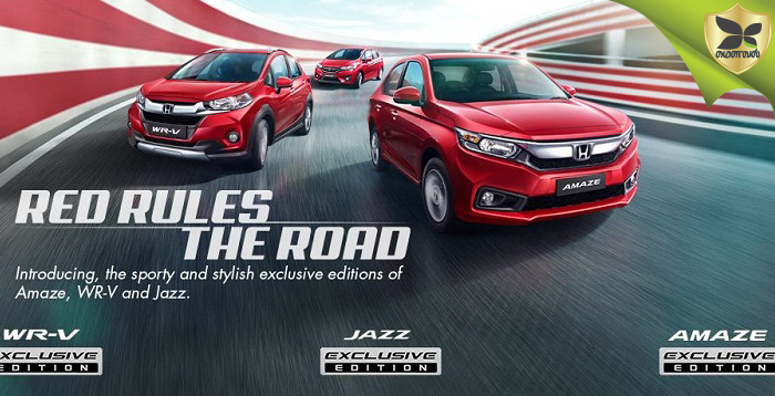Honda Launched Exclusive Editions Of Amaze, Jazz and WR-V