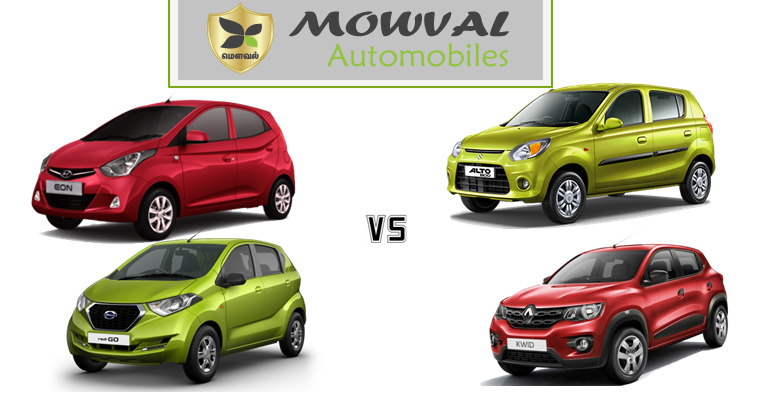 Spec comparison between Alto 800, Kwid,Eon and redi-Go