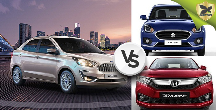Ford Aspire, Maruti Suzuki Dzire And Honda Amaze Detailed Comparison