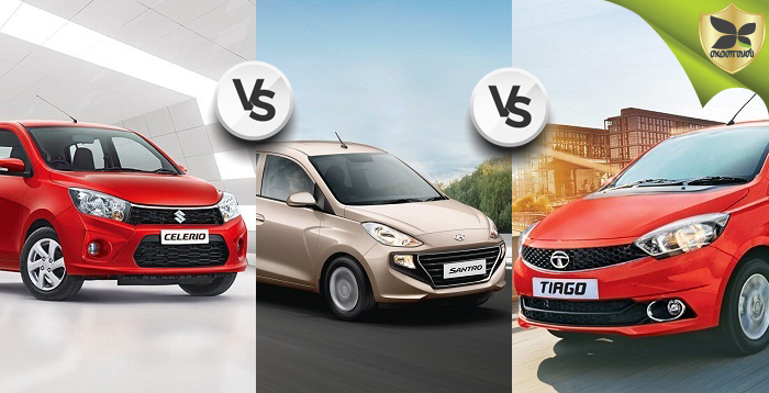 Hyundai Santro, Tata Tiago And Maruti Suzuki Celerio Detailed Comparison